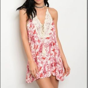 Floral paisley crochet-panel halter dress